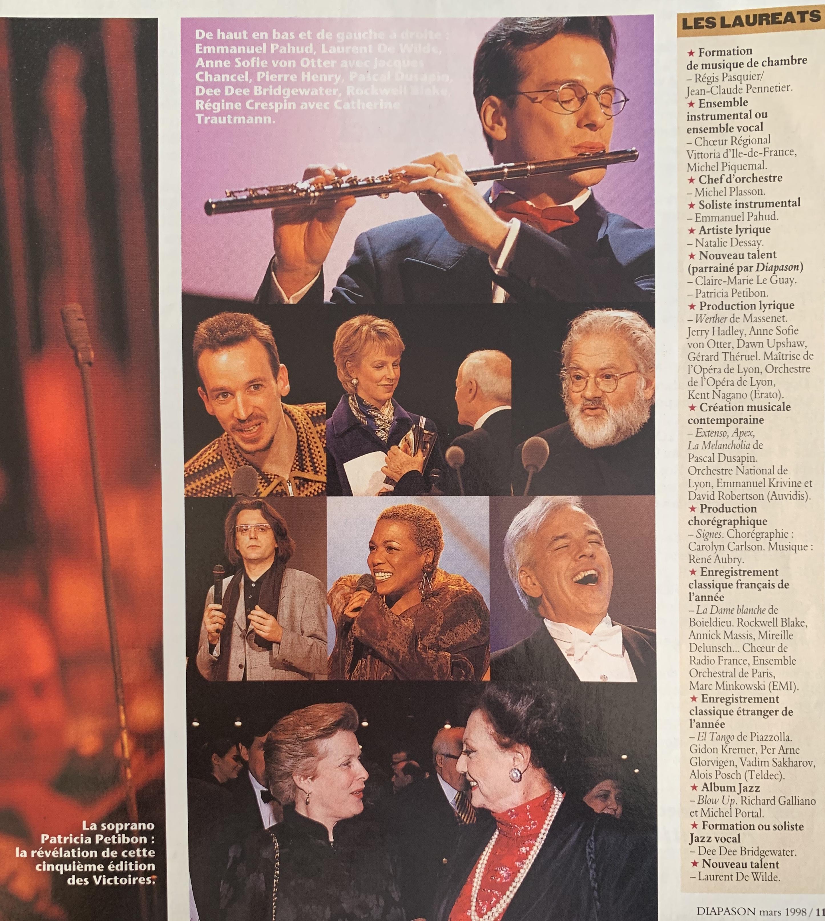 Victoires de la Musique classique 1998 Palmarès